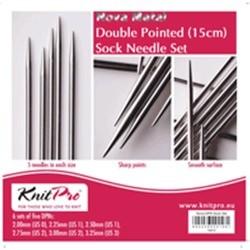 KIT D'AIGUILLES DOUBLES POINTES KNIT PRO METAL - 15CM